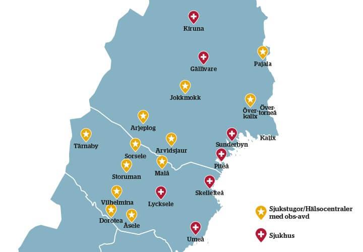 Karta över norra Sverige med sjukstugor markerade.