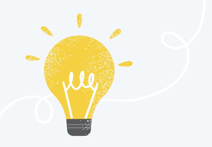 Tecknad bild av en tänd glödlampa.